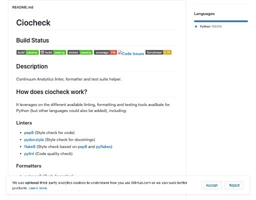 Screenshot of ciocheck website