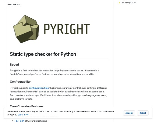 Screenshot of pyright website