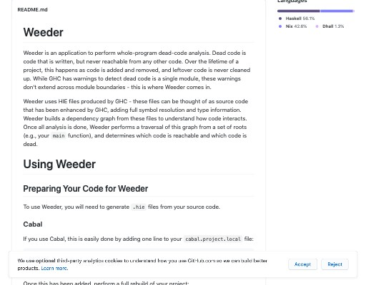Screenshot of Weeder website