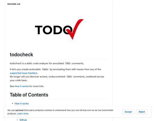 Screenshot of todocheck website