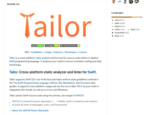 Screenshot of Tailor website