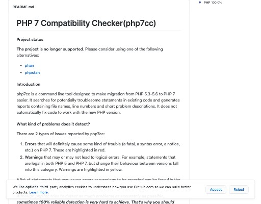 Screenshot of php7cc website