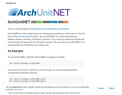 Screenshot of ArchUnitNET website