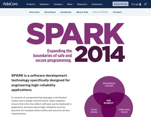 Screenshot of SPARK website