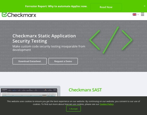 Screenshot of Checkmarx CxSAST website