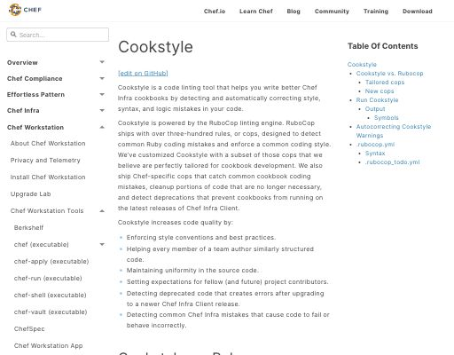 Screenshot of cookstyle website