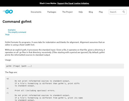 Screenshot of gofmt -s website