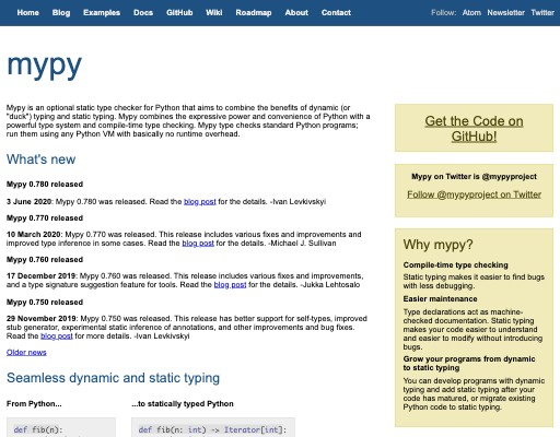 Screenshot of mypy website