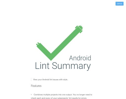 Screenshot of android-lint-summary website