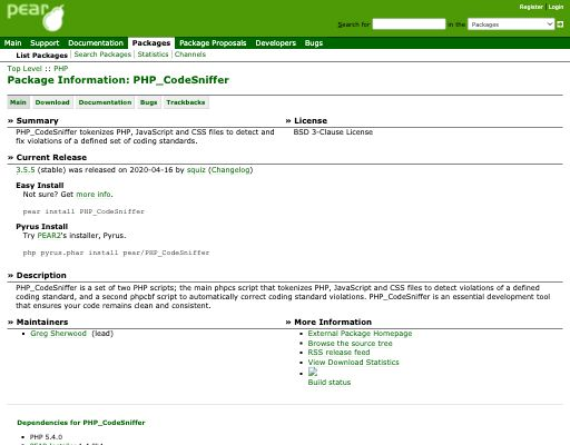 Screenshot of PHP_CodeSniffer website