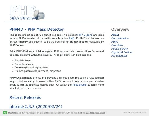 Screenshot of PHPMD website