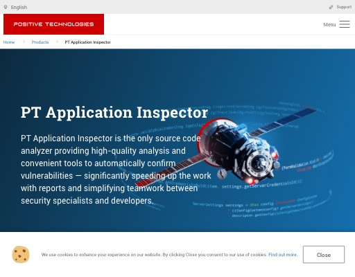 Screenshot of Application Inspector website