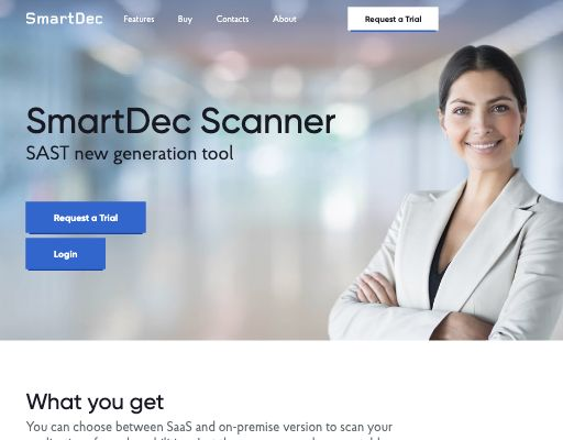 Screenshot of SmartDec Scanner website