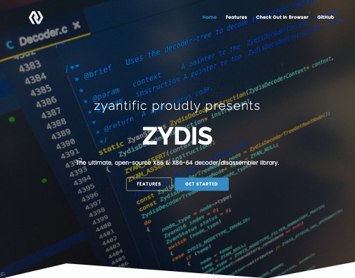 Screenshot of zydis website